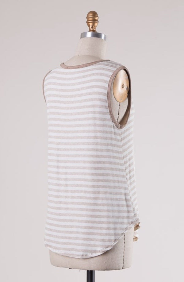 'Lost in the Stripes' Top - Oatmeal