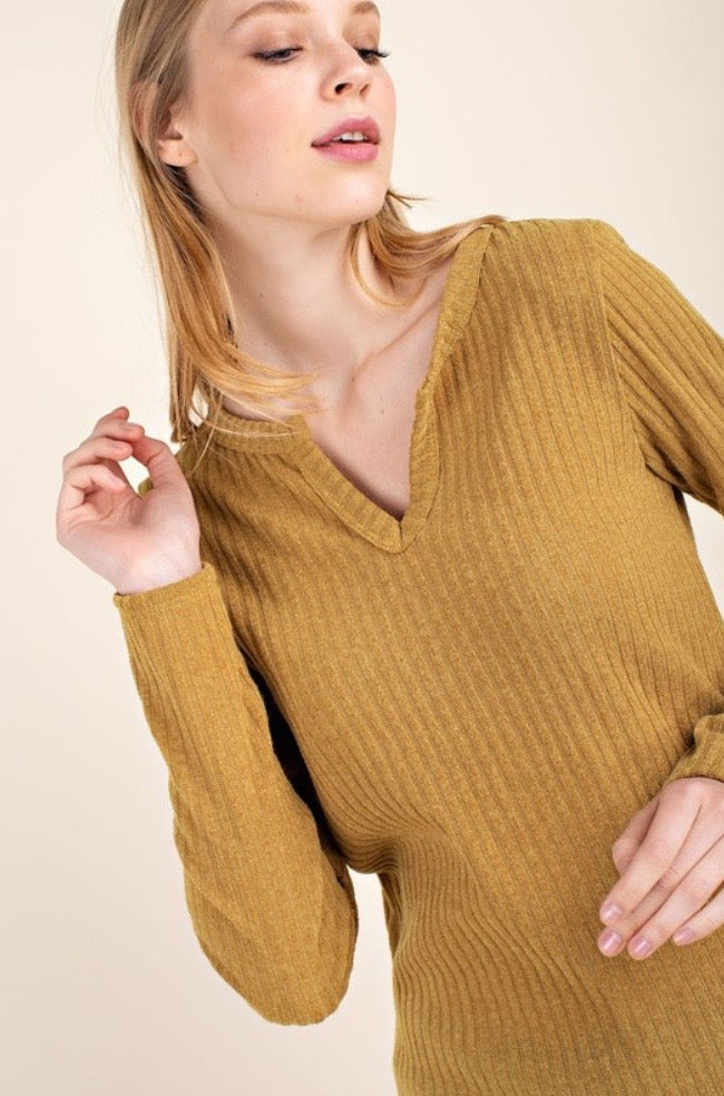 'Best Ever' Ribbed Top - Mustard