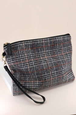 Plaid Clutch - White