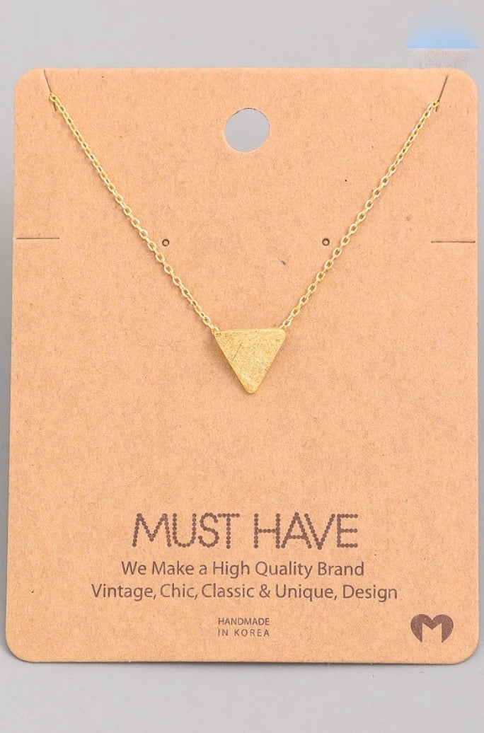 Solid Triangle Pendant Necklace - Gold