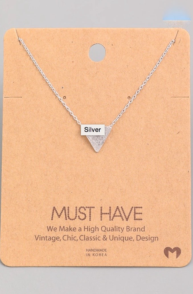 Solid Triangle Pendant Necklace - Silver