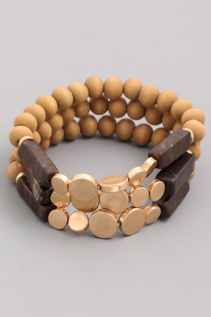 Bead Bracelet Set - Brown