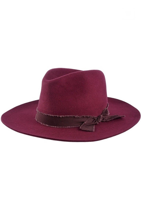 'Billie' Felt Hat - Burgundy