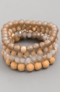 Beaded Bracelet Set - Brown