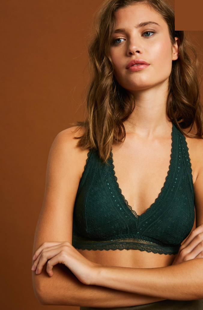 Padded Halter Bralette - Hunter Green