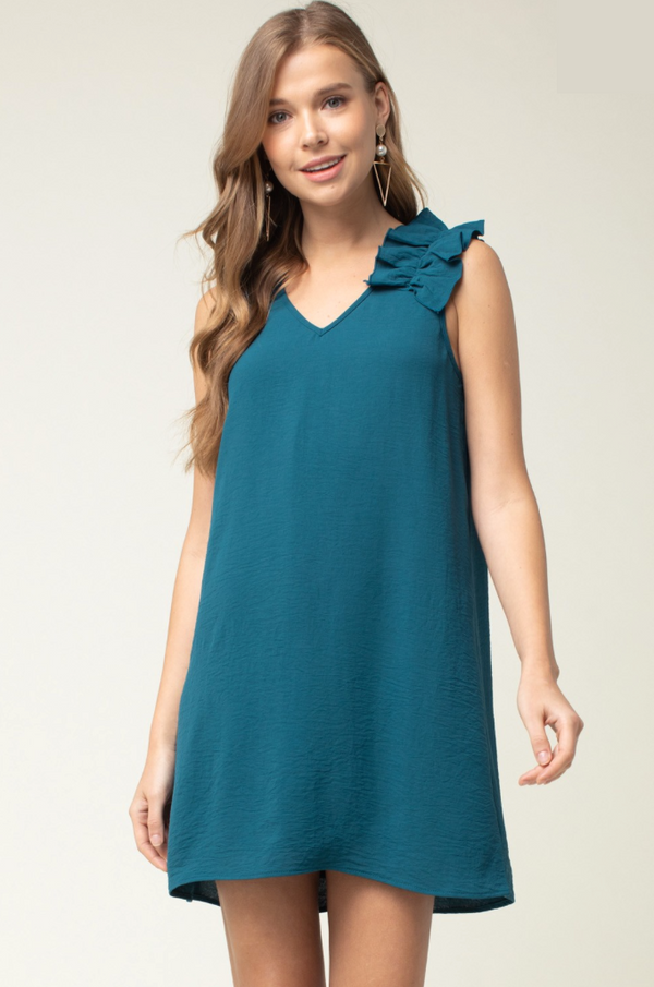 'For the Frill' Dress - Teal