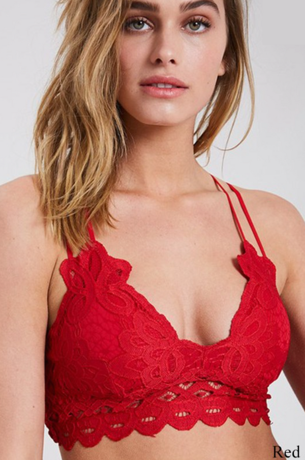 Scalloped Lace Bralette - Red