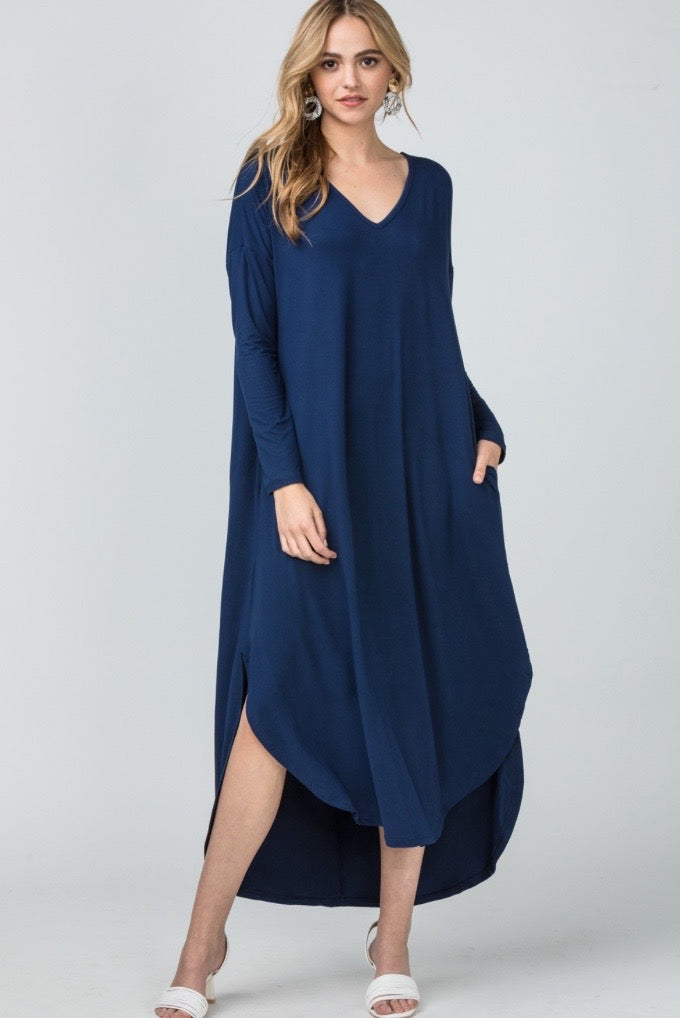 'Going Effortless' Dress - Navy