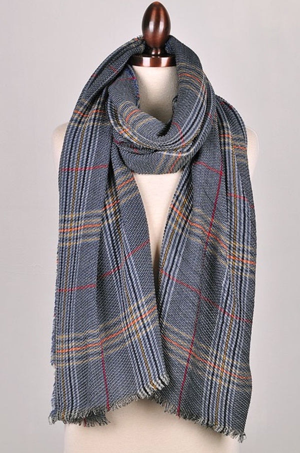 Plaid Scarf - Blue