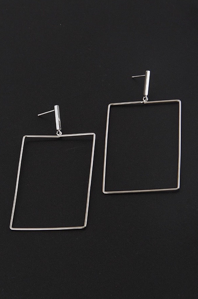 Rectangle Drop Earrings - Silver