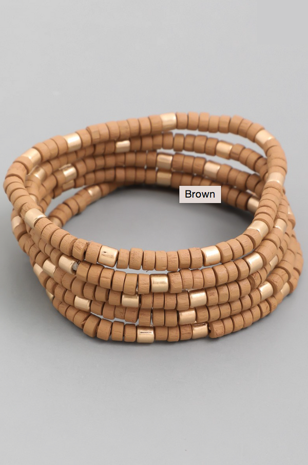 Multi Beaded Bracelet Set - Brown
