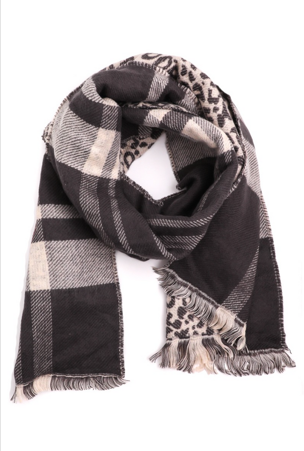 Leopard Plaid Scarf - Gray
