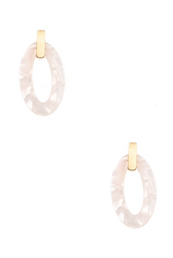 Acetate Drop Earrings - White
