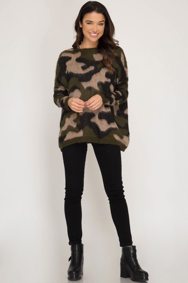 'No Hiding' Camo Sweater