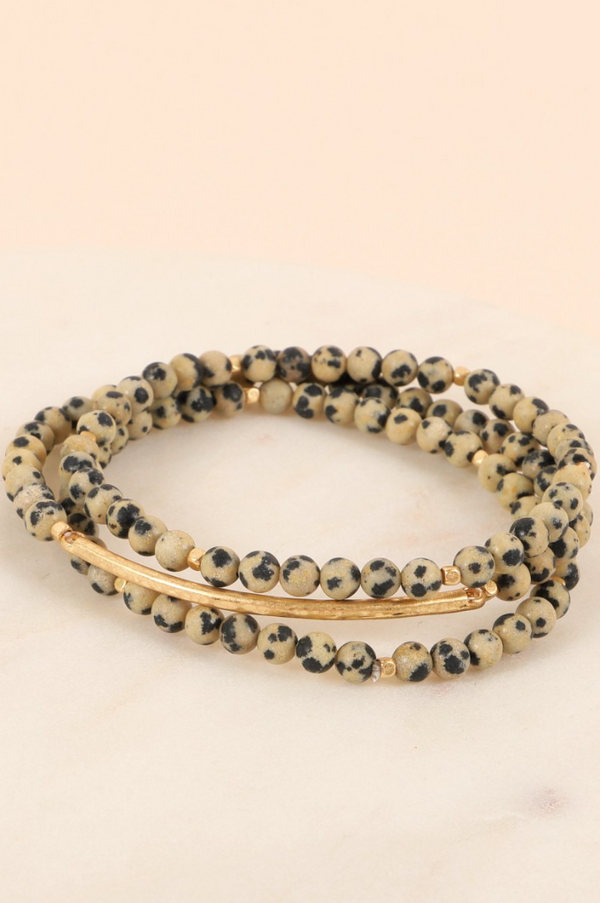 Bar Layered Bracelet Set - Dalmatian