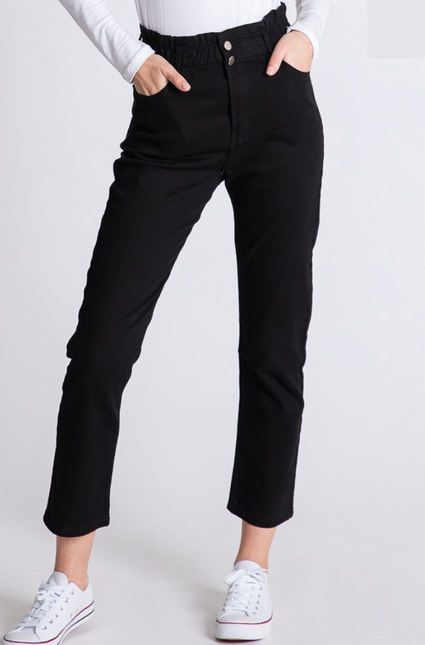 'Style Street' Paperbag Jeans - Black