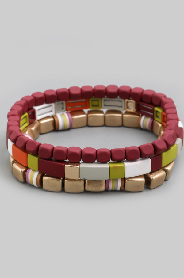 Block Bracelet Set - Burgundy