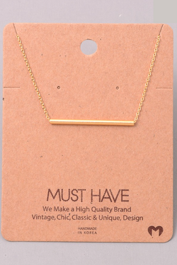 Classic Tube Bar Necklace - Gold