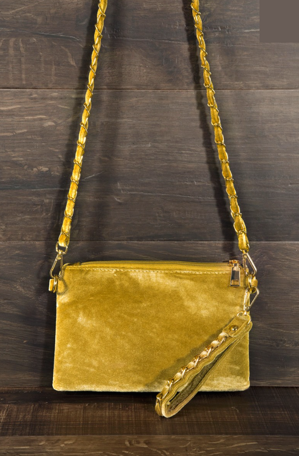 Chevron Quilted Bag - Mustard
