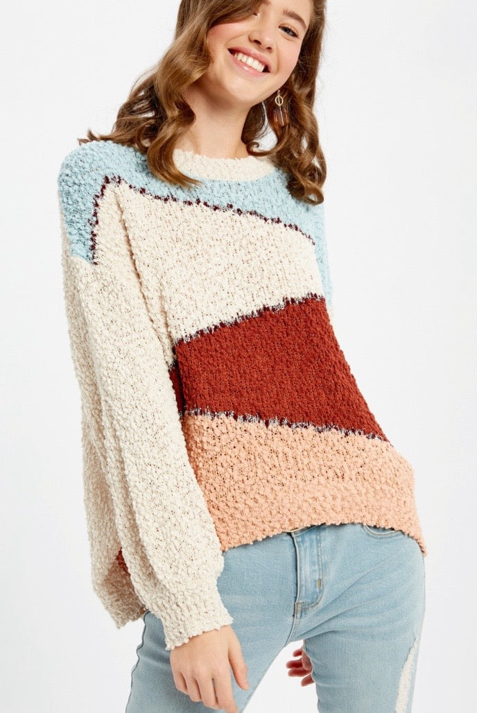 'Don't Stop Colorblock Sweater - Brick