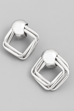 Layered Square Earrings - Silver