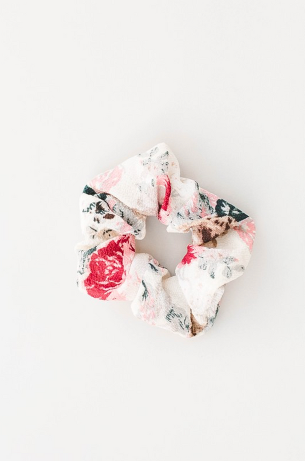white watercolor floral scrunchie | scrunchies | white scrunchie