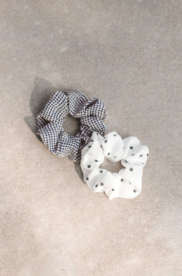 Navy Dot Scrunchie