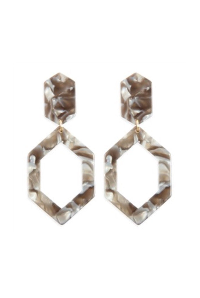 Linked Acetate Earrings - Gray