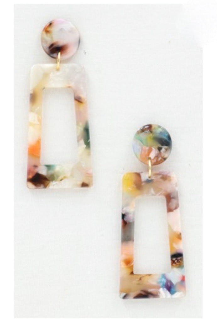 Rectangle Tortoise Earrings - Multi