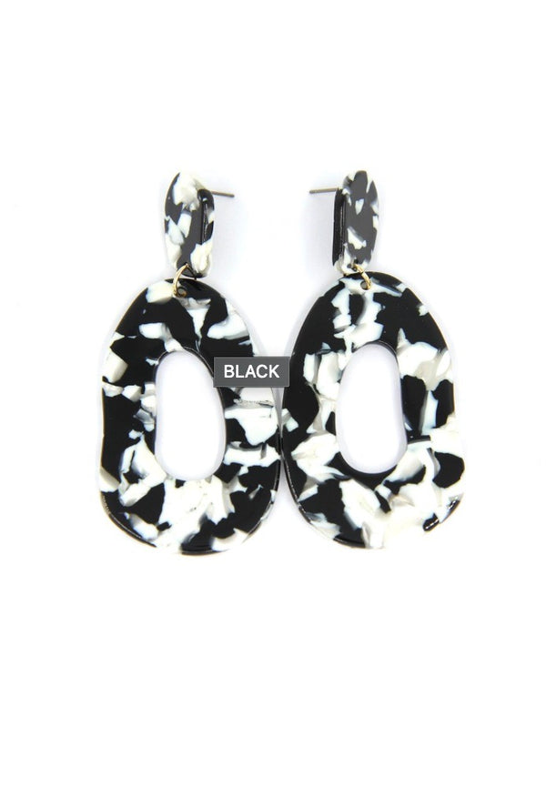 Acetate Drop Earrings - Black
