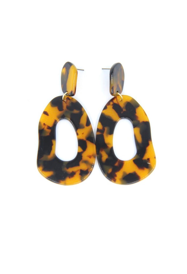 Acetate Drop Earrings - Brown