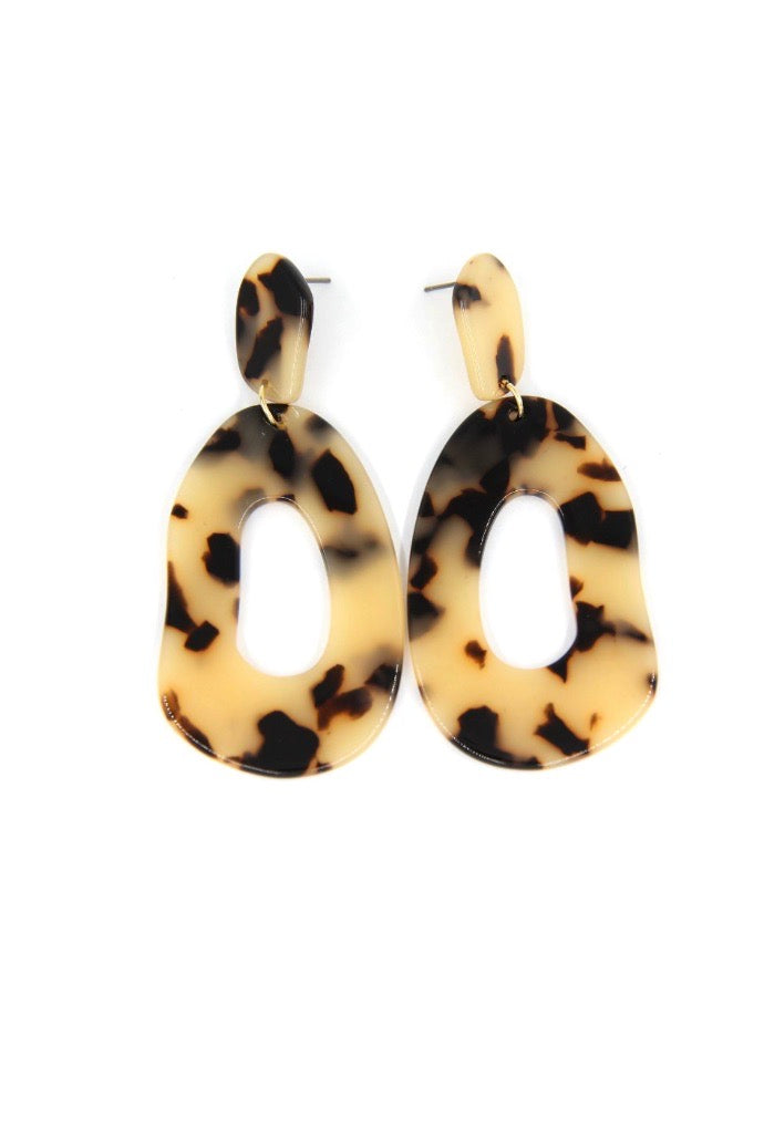 Acetate Drop Earrings - Light Brown