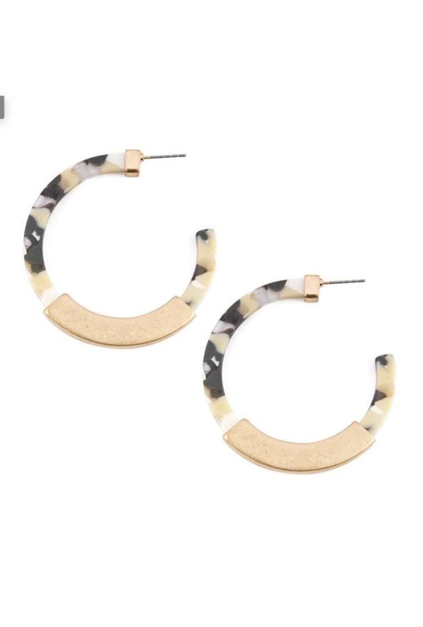 Gold Acetate Hoops - Gray