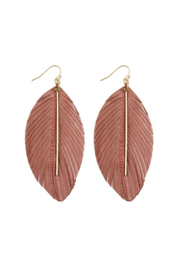 Feathered Bar Earrings - Light Pink