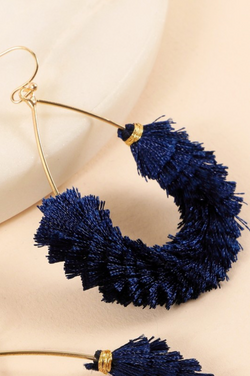 Tassel Teardrop Earrings - Navy
