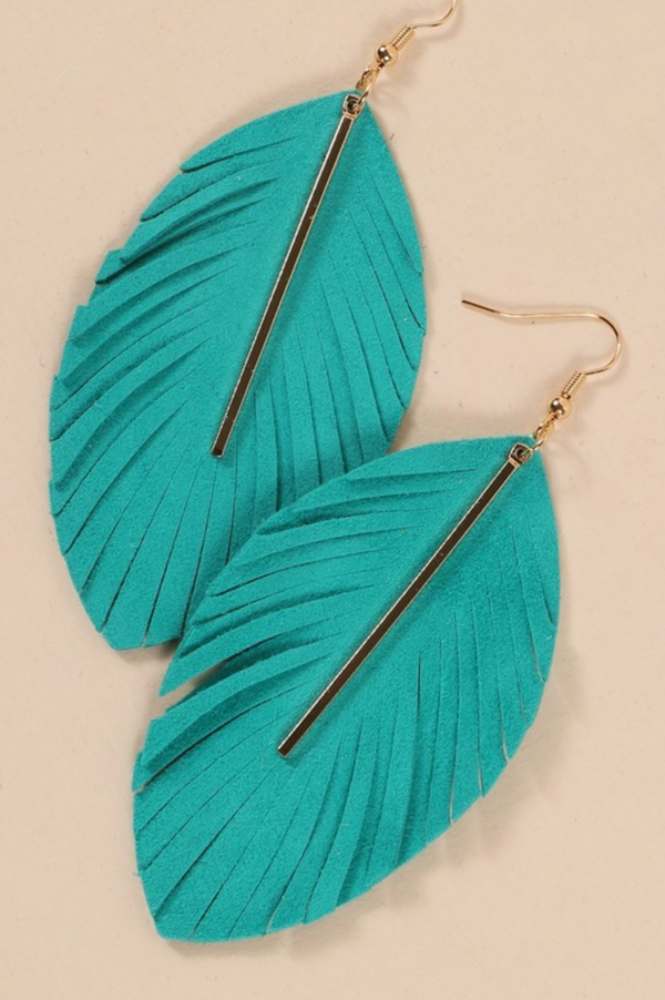 Feathered Bar Earrings - Turquoise