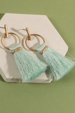 Ring Tassel Drop Earrings - Mint