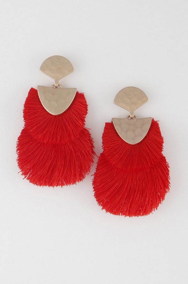 Double Tassel Earrings - Red