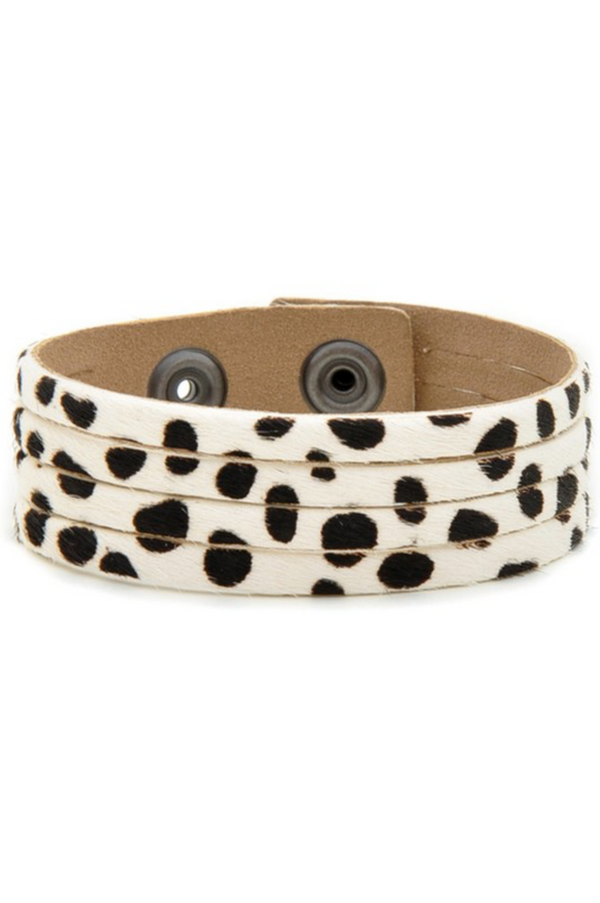 Calf Hair Bracelet - White Cheetah