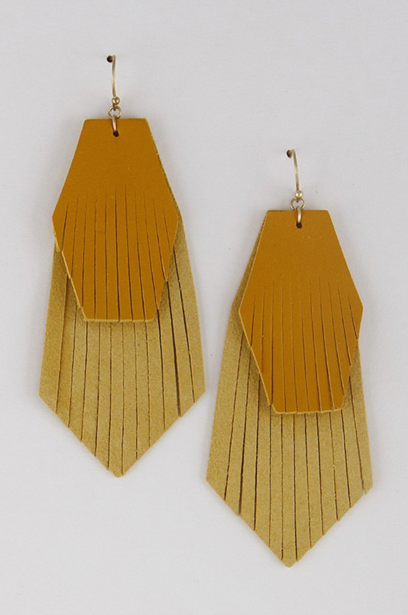 Layered Leather Earrings - Mustard