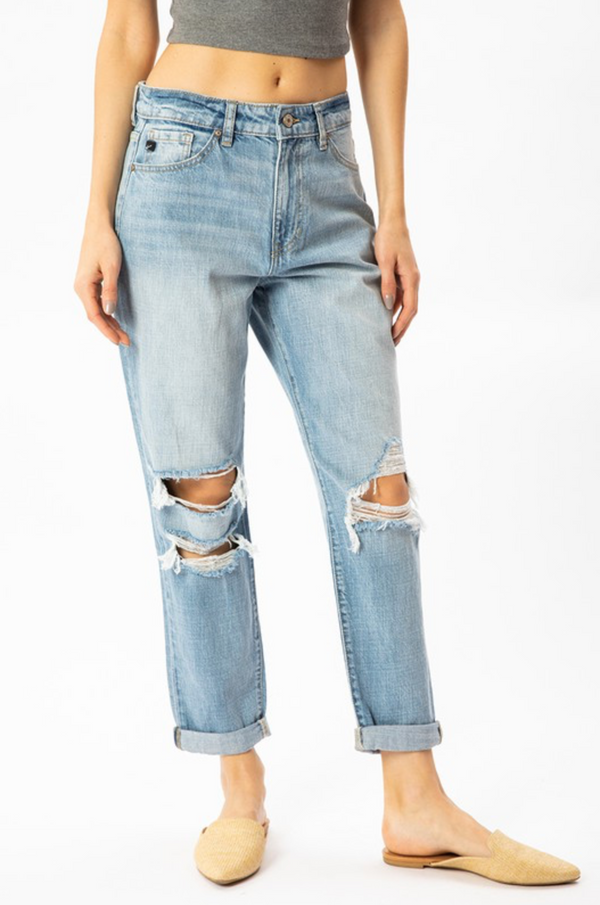 'Don't Give Up' Distressed Boyfriend Jeans