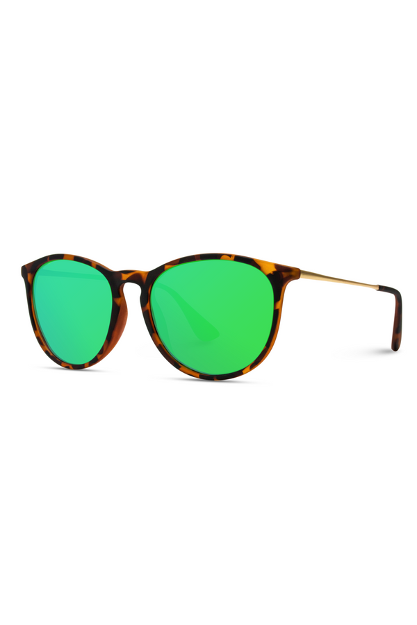 Drew Round Polarized Metal Temple Sunglasses - Green