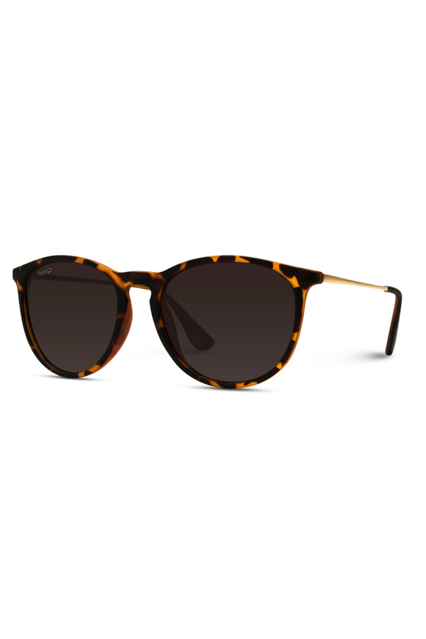 Drew Round Polarized Metal Temple Sunglasses - Tortoise
