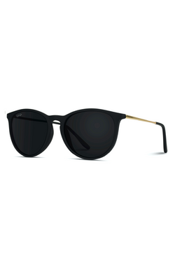 Drew Round Polarized Metal Temple Sunglasses - Black