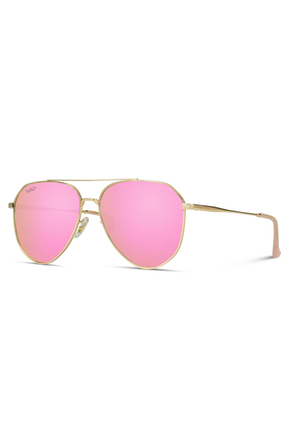 Aaron Geometric Polarized Metal Frame Aviators Sunglasses - Pink