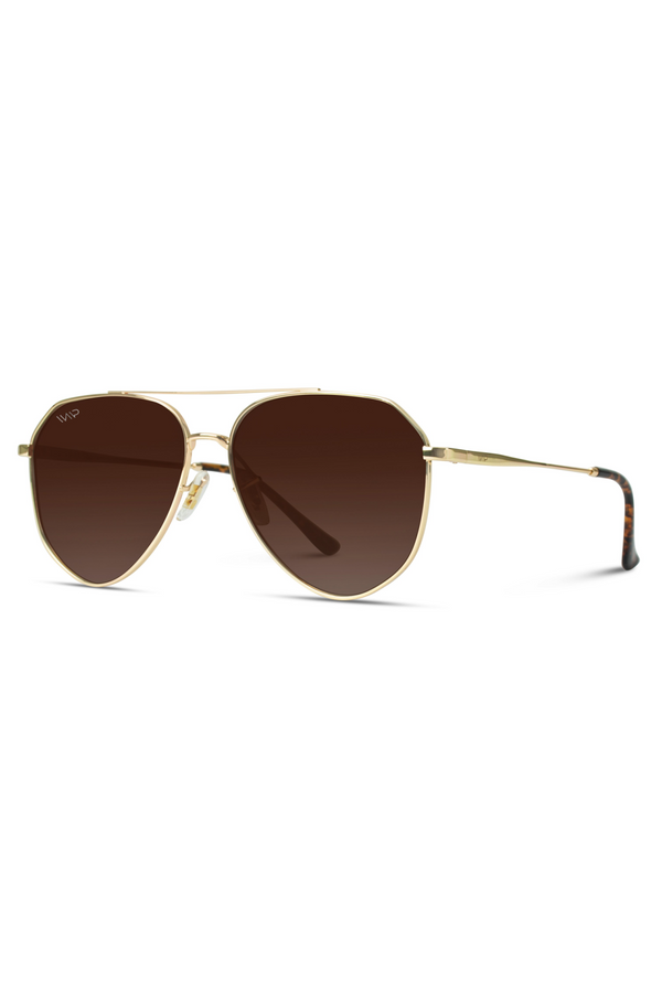 Aaron Geometric Polarized Metal Frame Aviators Sunglasses - Brown