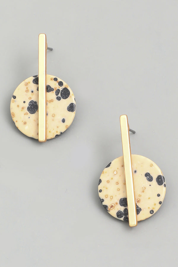 Circle Stone Drop Earrings - Dalmation