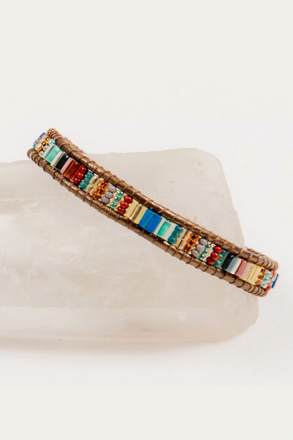 Beaded Leather Bracelet - Dark Turquoise