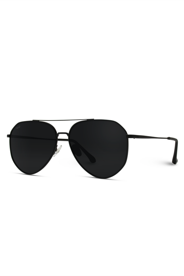 Aaron Polarized Aviator Sunglasses - Black