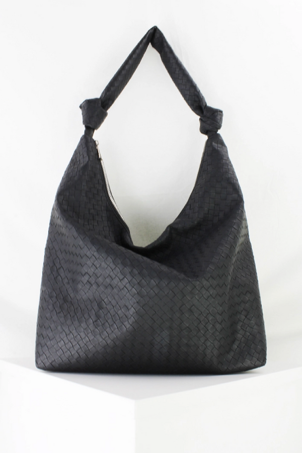Black Woven Hobo Bag